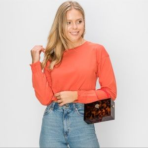 Ruche Sleeve Crop Tee